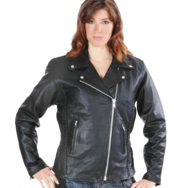 254.GO Women's Traditional Style Black Leather Motorcycle Jacket